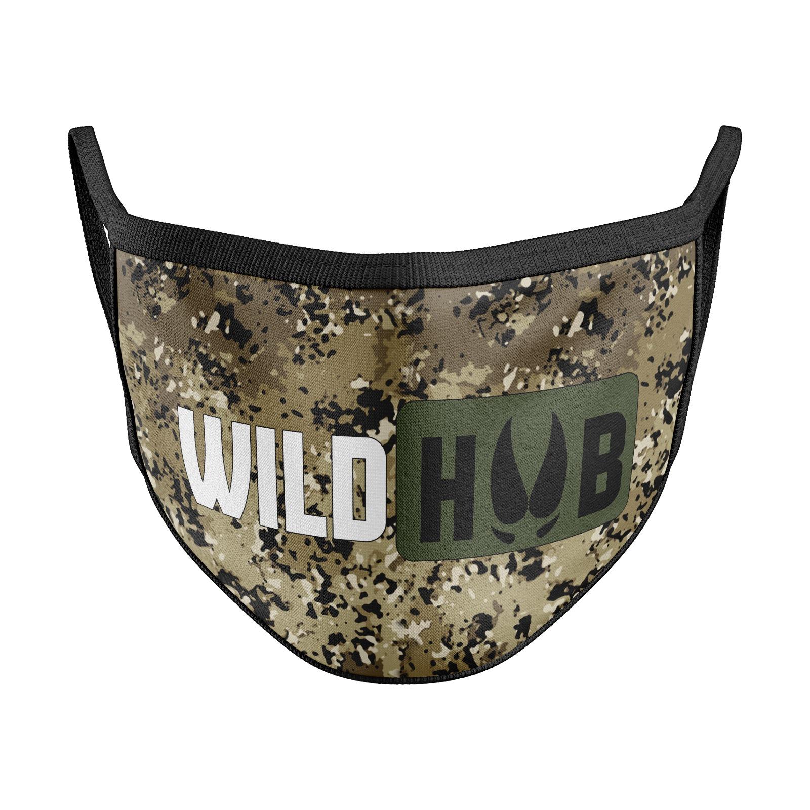WILD HUB Mund Nasen Behelfsmaske Mund Nasen Maske Highland Camo Design Größe verstellbar