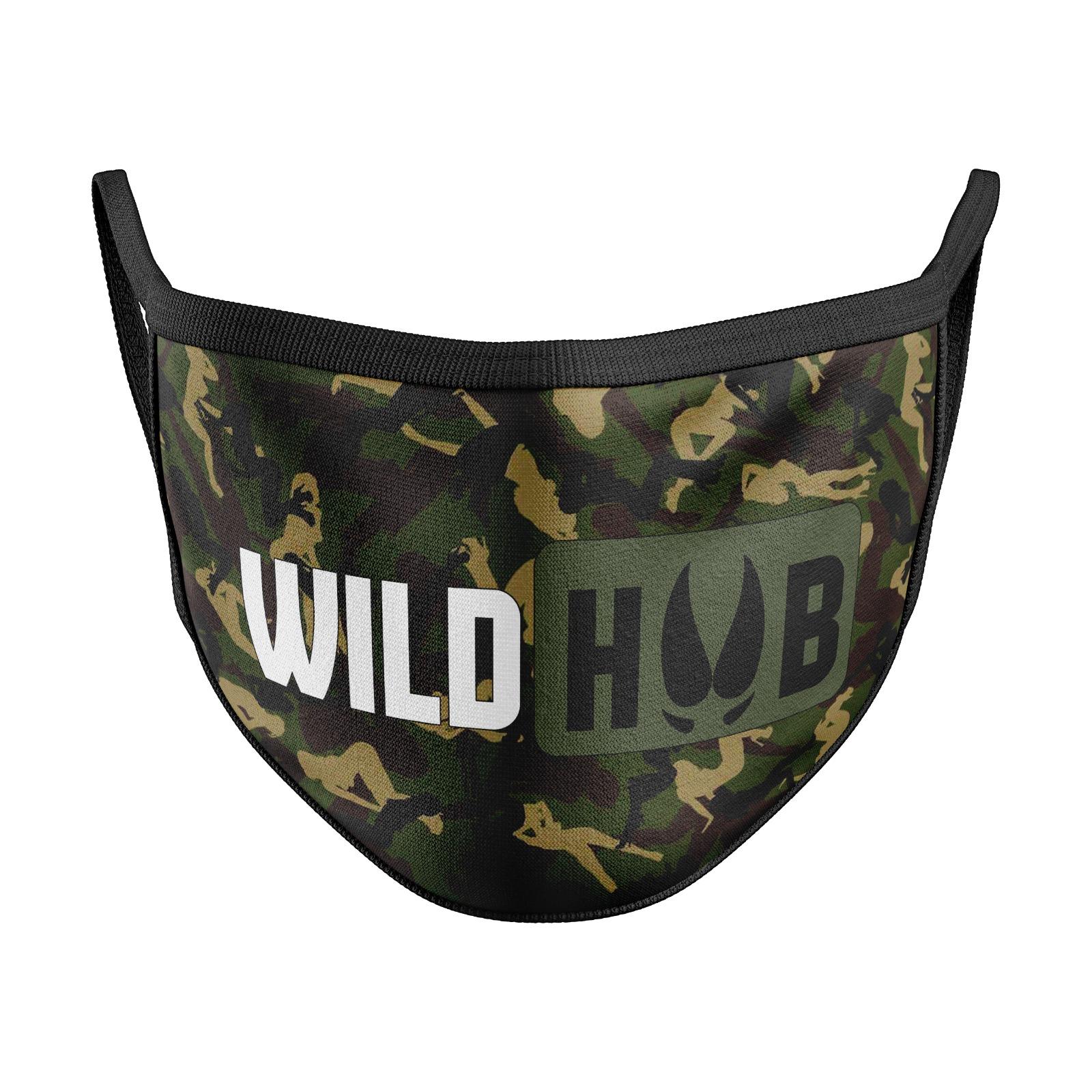 WILD HUB Mund Nasen Behelfsmaske Mund Nasen Maske Army Camo Design Größe verstellbar